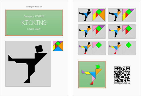 Tangram worksheet 227 : Kicking - This worksheet is available for free download at http://www.tangram-channel.com