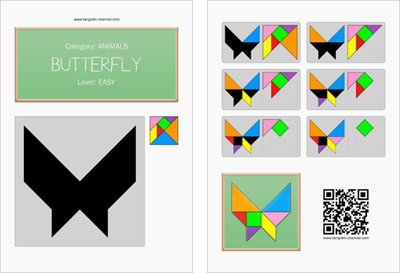 Tangram worksheet 246 : Butterfly - This worksheet is available for free download at http://www.tangram-channel.com
