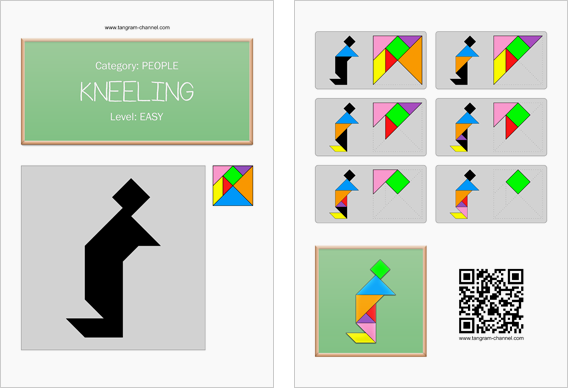 Tangram worksheet 197 : Kneeling - This worksheet is available for free download at http://www.tangram-channel.com