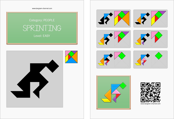 Tangram worksheet 88 : Sprinting - This worksheet is available for free download at http://www.tangram-channel.com
