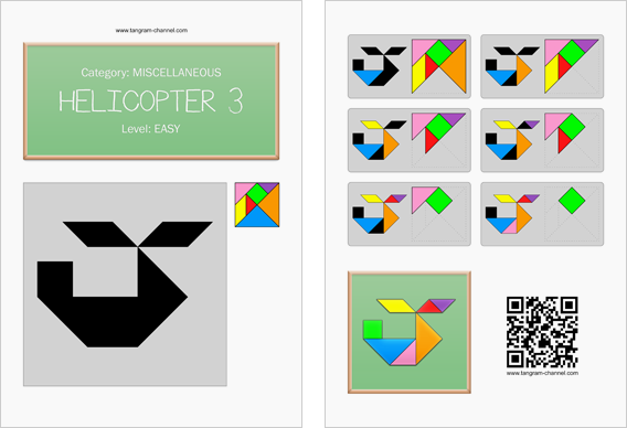 Tangram worksheet 255 : Helicopter 3 - This worksheet is available for free download at http://www.tangram-channel.com