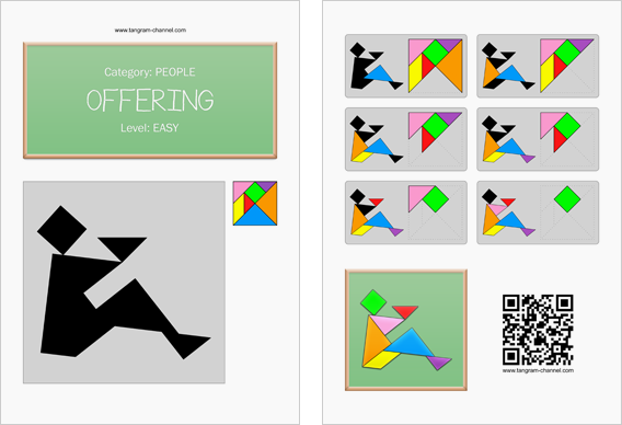 Tangram worksheet 22 : Offering - This worksheet is available for free download at http://www.tangram-channel.com