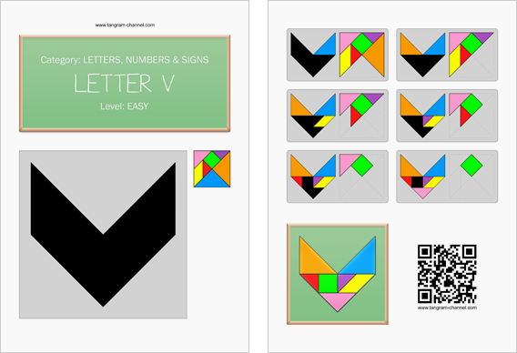 Tangram worksheet 129 : Letter V - This worksheet is available for free download at http://www.tangram-channel.com