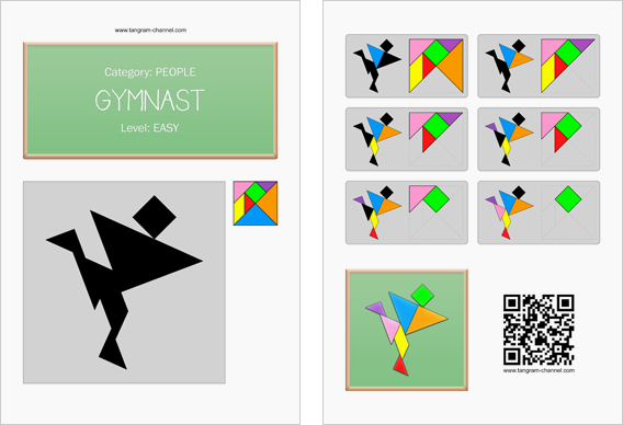 Tangram worksheet 263 : Gymnast - This worksheet is available for free download at http://www.tangram-channel.com