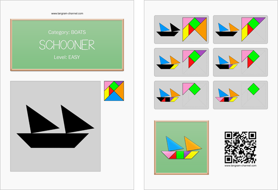 Tangram worksheet 3 : Schooner - This worksheet is available for free download at http://www.tangram-channel.com