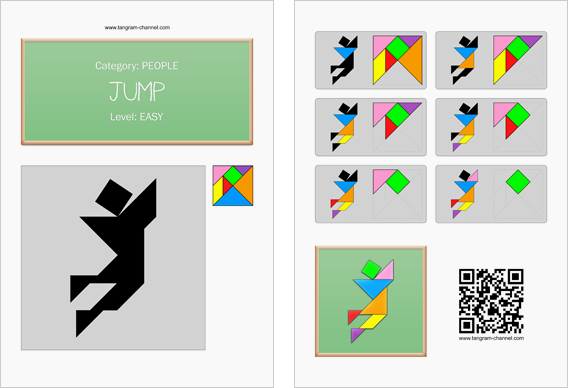 Tangram worksheet 15 : Jump - This worksheet is available for free download at http://www.tangram-channel.com