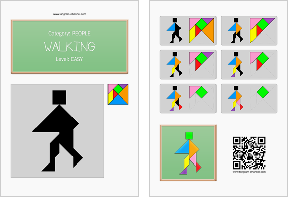 Tangram worksheet 203 : Walking - This worksheet is available for free download at http://www.tangram-channel.com