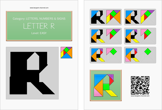 Tangram worksheet 132 : Letter R - This worksheet is available for free download at http://www.tangram-channel.com