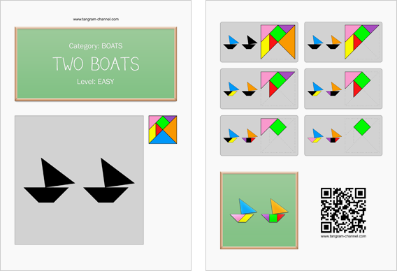 Tangram worksheet 31 : Two boats - This worksheet is available for free download at http://www.tangram-channel.com