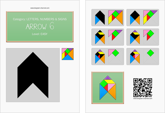Tangram worksheet 158 : Arrow 6 - This worksheet is available for free download at http://www.tangram-channel.com