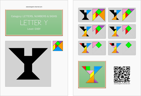 Tangram worksheet 118 : Letter Y - This worksheet is available for free download at http://www.tangram-channel.com