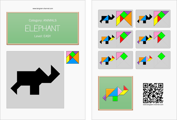 Tangram worksheet 270 : Elephant - This worksheet is available for free download at http://www.tangram-channel.com