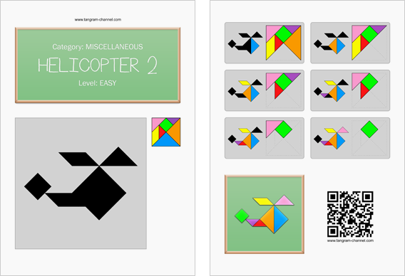 Tangram worksheet 148 : Helicopter 2 - This worksheet is available for free download at http://www.tangram-channel.com