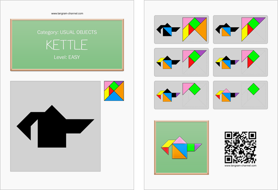 Tangram worksheet 253 : Kettle - This worksheet is available for free download at http://www.tangram-channel.com