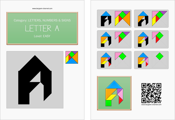 Tangram worksheet 110 : Letter A - This worksheet is available for free download at http://www.tangram-channel.com
