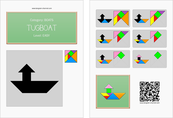 Tangram worksheet 82 : Tugboat - This worksheet is available for free download at http://www.tangram-channel.com