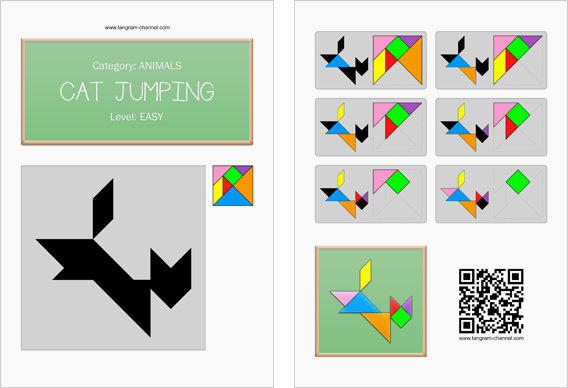 Tangram worksheet 90 : Cat jumping - This worksheet is available for free download at http://www.tangram-channel.com
