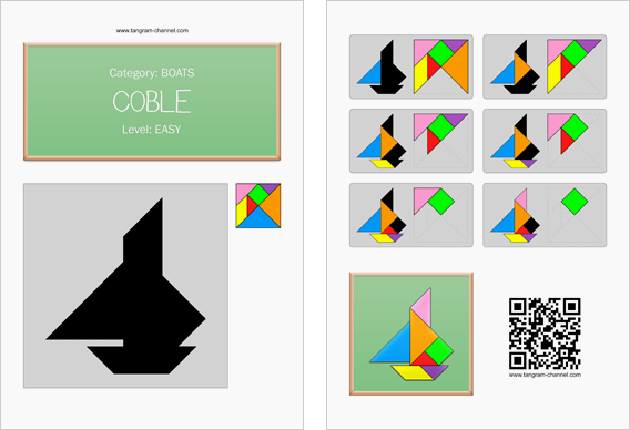 Tangram worksheet 236 : Coble - This worksheet is available for free download at http://www.tangram-channel.com