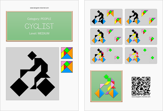Tangram worksheet 87 : Cyclist - This worksheet is available for free download at http://www.tangram-channel.com