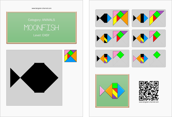 Tangram worksheet 66 : Moonfish - This worksheet is available for free download at http://www.tangram-channel.com