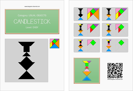 Tangram worksheet 42 : Candlestick - This worksheet is available for free download at http://www.tangram-channel.com