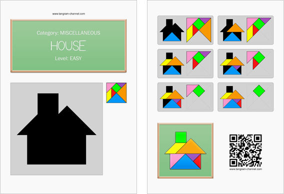 Tangram worksheet 20 : House - This worksheet is available for free download at http://www.tangram-channel.com