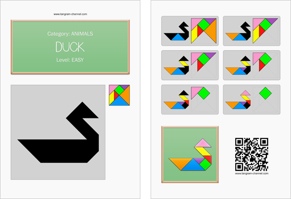 Tangram worksheet 73 : Duck - This worksheet is available for free download at http://www.tangram-channel.com