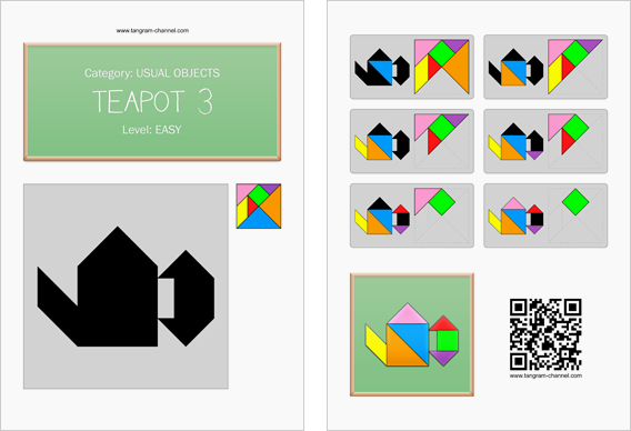 Tangram worksheet 100 : Teapot 3 - This worksheet is available for free download at http://www.tangram-channel.com