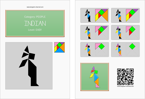 Tangram worksheet 134 : Indian - This worksheet is available for free download at http://www.tangram-channel.com