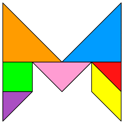 Tangram Letter M - Tangram solution #123 - Providing teachers and ...