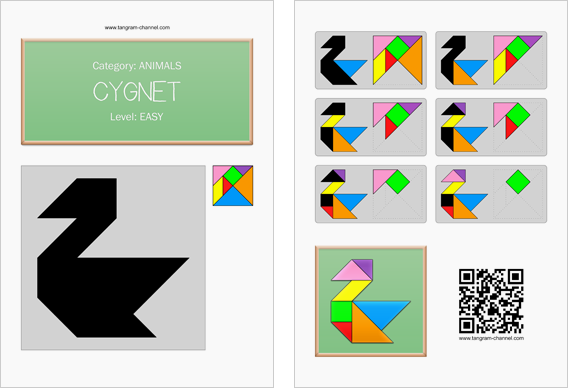 Tangram worksheet 222 : Cygnet - This worksheet is available for free download at http://www.tangram-channel.com