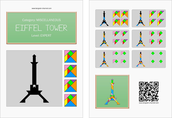 Tangram worksheet 160 : Eiffel Tower - This worksheet is available for free download at http://www.tangram-channel.com