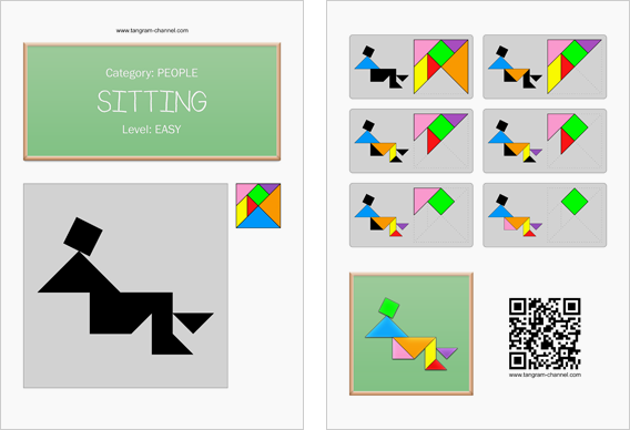 Tangram worksheet 269 : Sitting - This worksheet is available for free download at http://www.tangram-channel.com