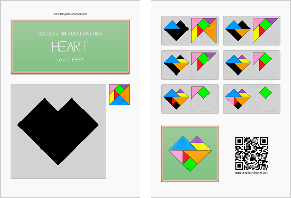 Tangram worksheet 60 : Heart - This worksheet is available for free download at http://www.tangram-channel.com