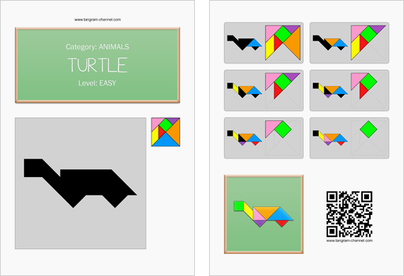 Tangram worksheet 175 : Turtle - This worksheet is available for free download at http://www.tangram-channel.com