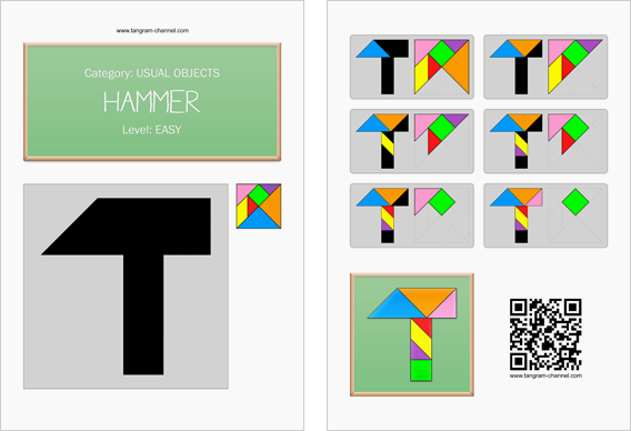 Tangram worksheet 35 : Hammer - This worksheet is available for free download at http://www.tangram-channel.com