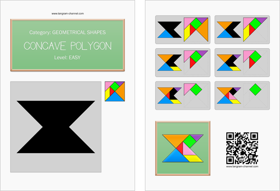 Tangram worksheet 153 : Concave polygon - This worksheet is available for free download at http://www.tangram-channel.com