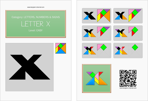 Tangram worksheet 119 : Letter X - This worksheet is available for free download at http://www.tangram-channel.com