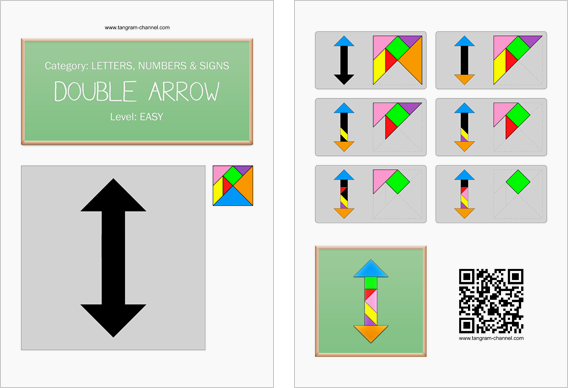 Tangram worksheet 120 : Double arrow - This worksheet is available for free download at http://www.tangram-channel.com