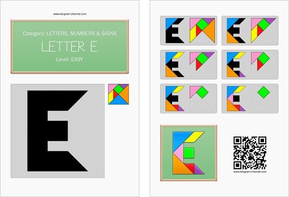 Tangram worksheet 53 : Letter E - This worksheet is available for free download at http://www.tangram-channel.com