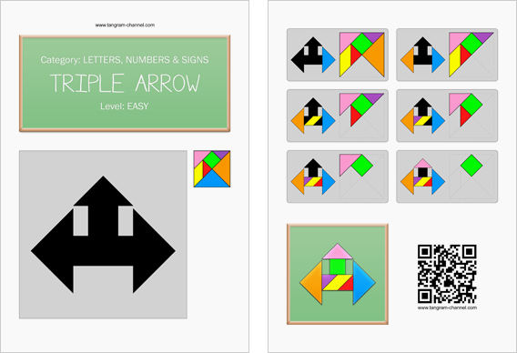 Tangram worksheet 149 : triple arrow - This worksheet is available for free download at http://www.tangram-channel.com