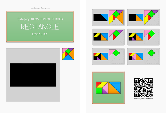 Tangram worksheet 25 : Rectangle - This worksheet is available for free download at http://www.tangram-channel.com