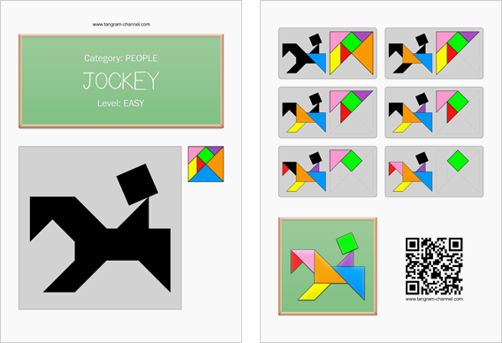 Tangram worksheet 245 : Jockey - This worksheet is available for free download at http://www.tangram-channel.com
