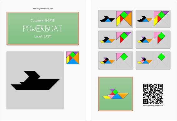 Tangram worksheet 206 : Powerboat - This worksheet is available for free download at http://www.tangram-channel.com