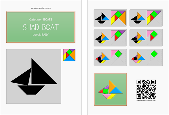 Tangram worksheet 17 : Shad boat - This worksheet is available for free download at http://www.tangram-channel.com