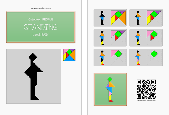 Tangram worksheet 251 : Standing - This worksheet is available for free download at http://www.tangram-channel.com