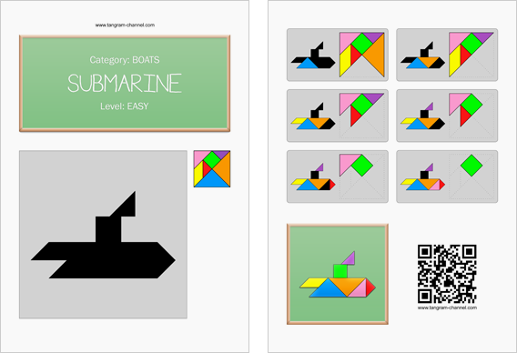 Tangram worksheet 139 : Submarine - This worksheet is available for free download at http://www.tangram-channel.com