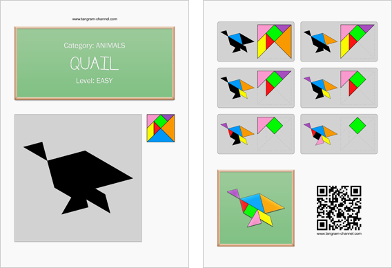 Tangram worksheet 147 : Quail - This worksheet is available for free download at http://www.tangram-channel.com