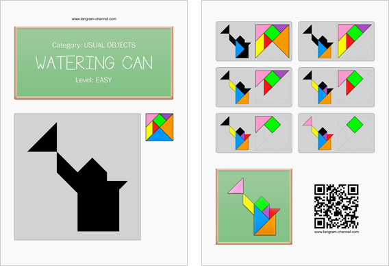 Tangram worksheet 55 : Watering can - This worksheet is available for free download at http://www.tangram-channel.com