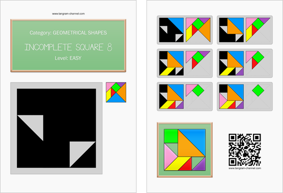 Tangram worksheet 184 : Incomplete square 8 - This worksheet is available for free download at http://www.tangram-channel.com